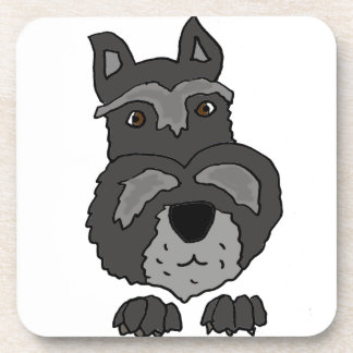 Funny Cute Schnauzer Dog Art Beverage Coaster