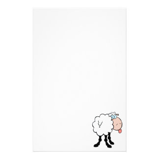 funny cute sheep sticking tongue out from behind stationery