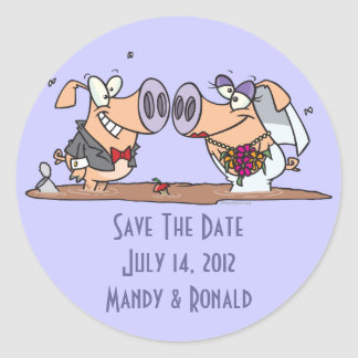 funny cute silly wedding pigs bride groom classic round sticker