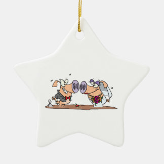 funny cute silly wedding pigs bride groom Double-Sided star ceramic christmas ornament