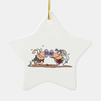 funny cute silly wedding pigs bride groom christmas tree ornament