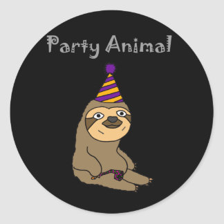 Funny Cute Sloth Party Animal Classic Round Sticker