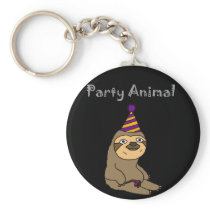 Funny Cute Sloth Party Animal Keychain