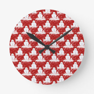 Funny, Cute smiling Snowmans White and Red color Round Clock