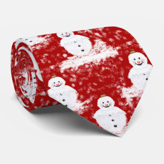 Funny, Cute smiling Snowmans White and Red color Tie