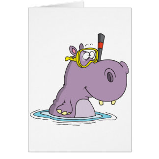 funny cute snorkeling swimming hippo card