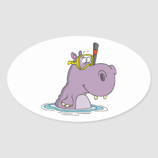 funny cute snorkeling swimming hippo oval sticker