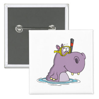 funny cute snorkeling swimming hippo pinback button