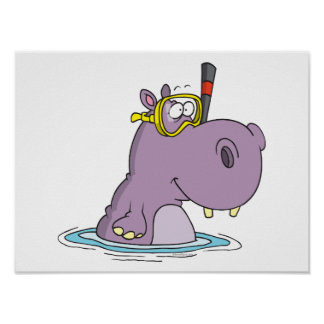 funny cute snorkeling swimming hippo poster