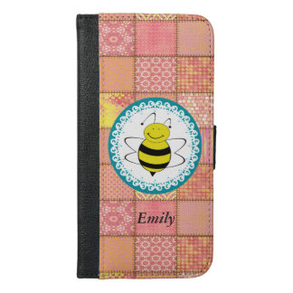 Funny Cute trendy girly bee patchwork monogram iPhone 6/6s Plus Wallet Case