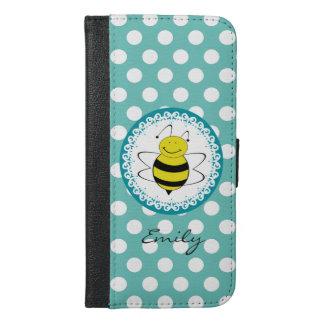 Funny Cute trendy girly bee polka dots monogram iPhone 6/6s Plus Wallet Case