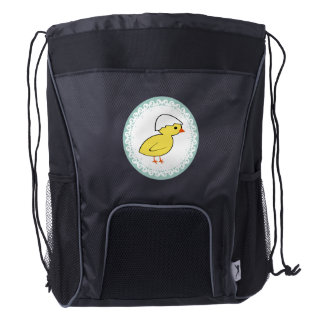 Funny Cute trendy girly cartoon baby chicken Drawstring Backpack