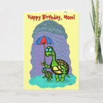 Funny cute turtles Happy Birthday, Mom card design card