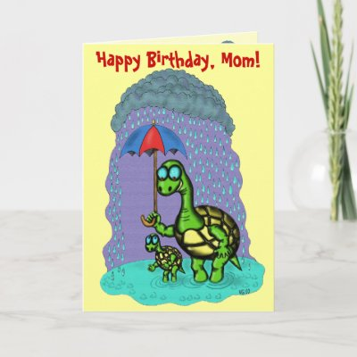 Funny cute turtles Happy Birthday, Mom card design from