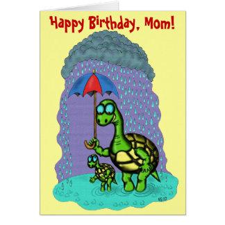 Funny cute turtles Happy Birthday, Mom card design