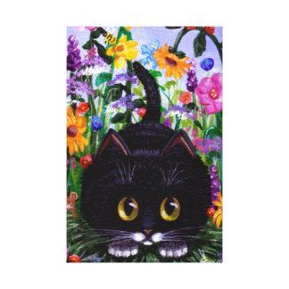 Funny Cute Tuxedo Cat Mouse Flowers Creationarts Canvas Print