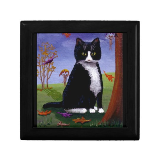 Funny Cute Tuxedo Cat Mouse Leaves Creationarts Jewelry Box