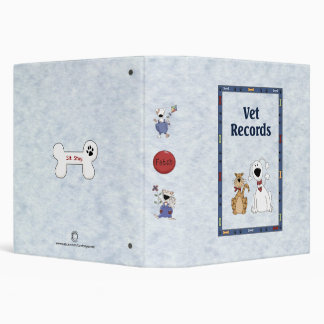Funny Cute Veterinarian Records File 3 Ring Binder