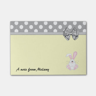 Funny cute whimsical rabbit polka dots monogram post-it notes