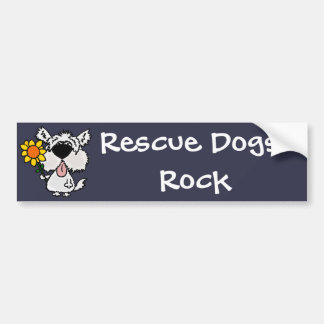 Funny Cute White Shaggy Puppy Dog Bumper Sticker