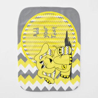 Funny Cute Yellow Chevron Elephant Baby Burp Cloths