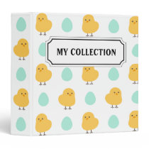 Funny cute yellow chick egg easter illustration 3 ring binder