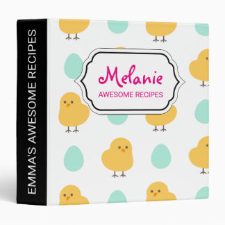 Funny cute yellow chick egg easter illustration binder