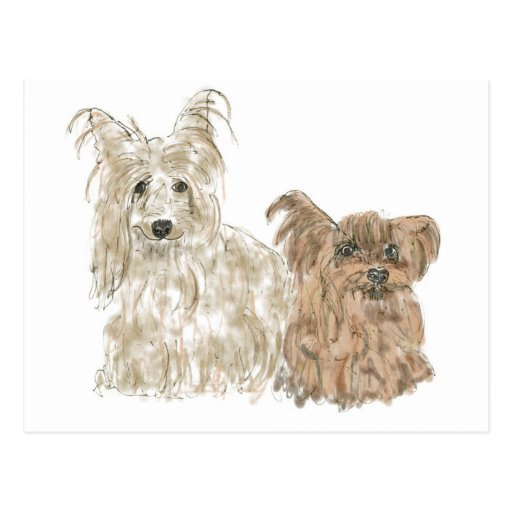 Funny cute Yorkshire terrier dogs art postcard | Zazzle Yorkshire Terrier 911
