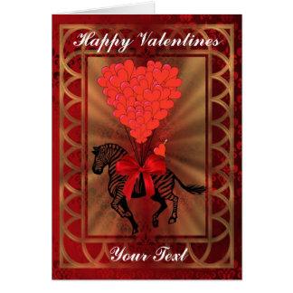 Funny cute zebra and love heart fun valentines day card