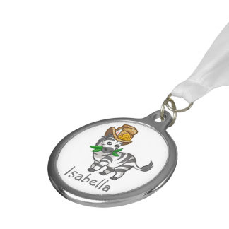 Funny Cute Zebra Silver Medal Kids Party