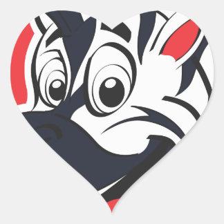 Funny cute Zebras Heart Sticker