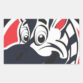 Funny cute Zebras Rectangular Sticker