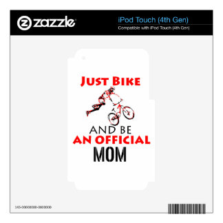 Funny Cycling mom Decals For iPod Touch 4G