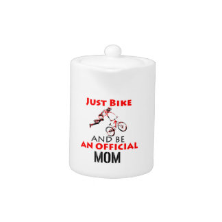 Funny Cycling mom Teapot