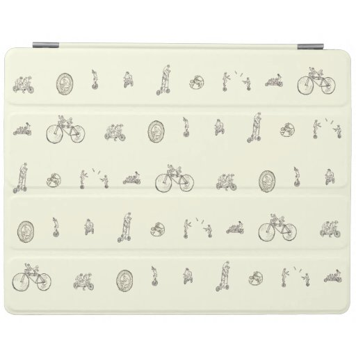 Funny Cycling on Quirky Bicycles Line Drawing Art iPad Smart Cover