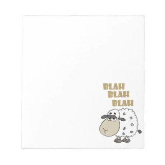 Funny Cynical Sheep says Blah Blah Blah Notepad
