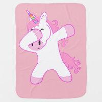 Funny Dab Dancing Unicorn Pink Baby Blanket