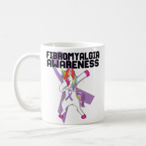 Funny Dabbing Unicorn Fibromyalgia Awareness Mug