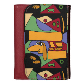 Funny Dachshund Abstract Art Wallet