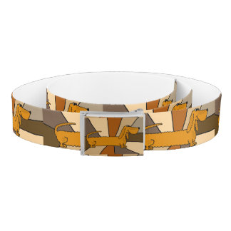 Funny Dachshund Dog Abstract Art Belt