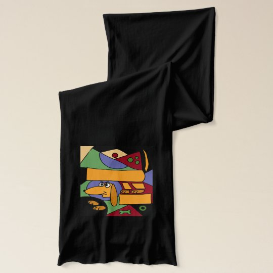 Funny Dachshund Dog Abstract Art Scarf