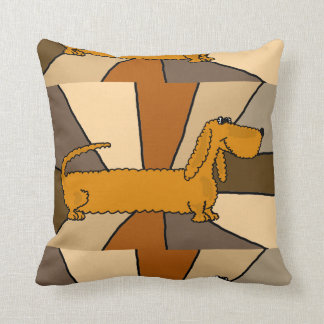 Funny Dachshund Dog Art Throw Pillow