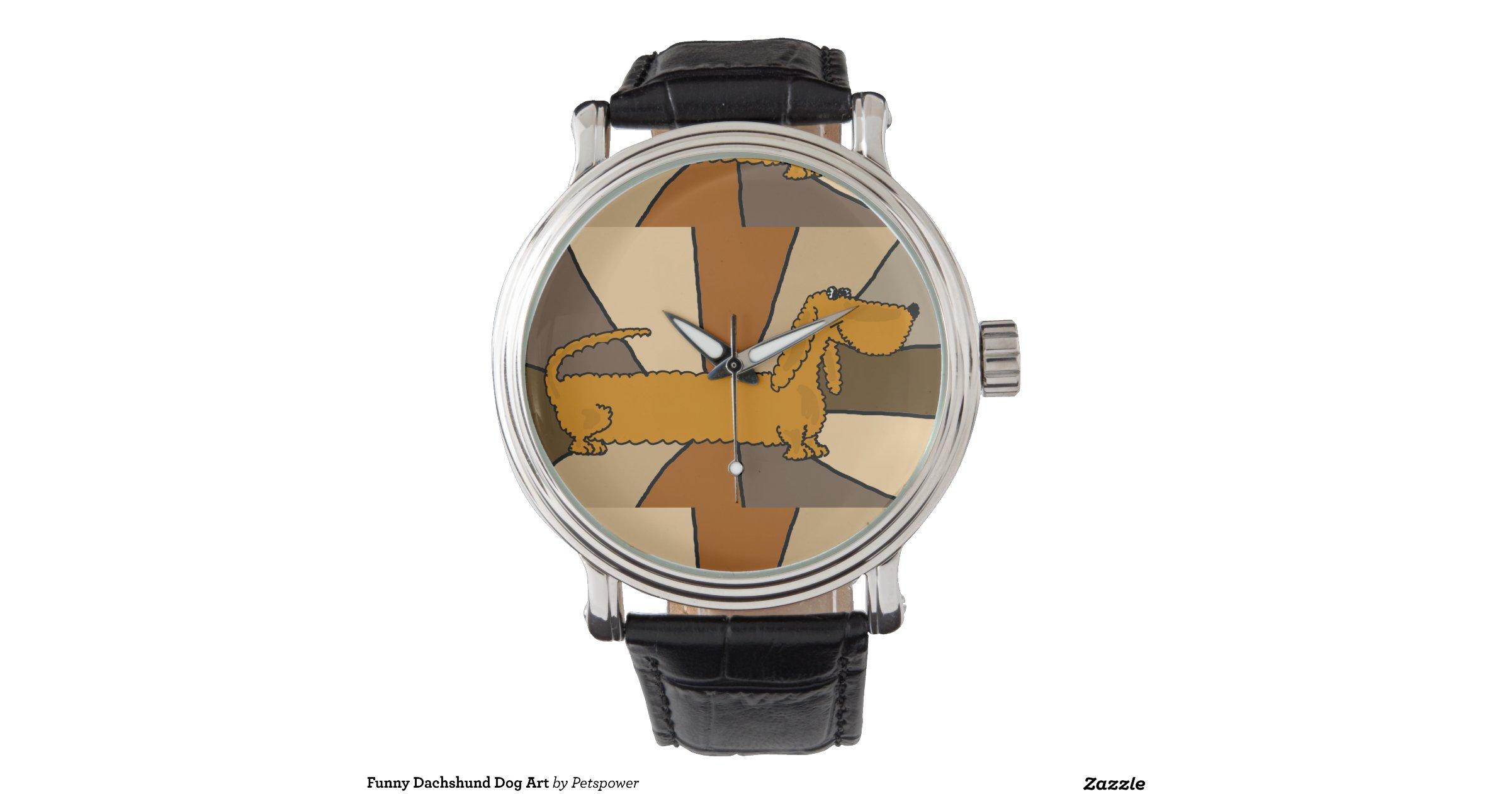 Funny dachshund dog art wrist watches zazzle for Minimal art wrist watch