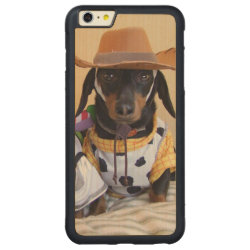 Carved iPhone 6 Plus Slim Wood Case with Dachshund Phone Cases design