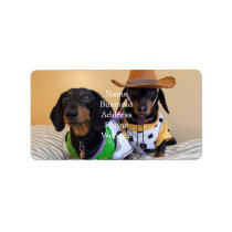 Funny Dachshund - dog cowboy Label