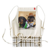 Funny Dachshund - dog cowboy Zazzle HEART Apron