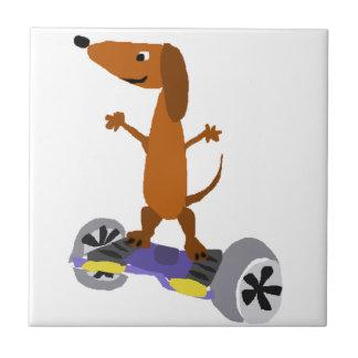 Funny Dachshund Dog on Hoverboard Tile