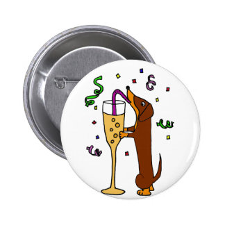 Funny Dachshund Dog Party Cartoon Buttons