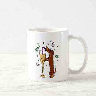 Funny Dachshund Dog Party Cartoon Coffee Mug