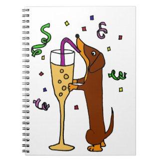 Funny Dachshund Dog Party Cartoon Notebook